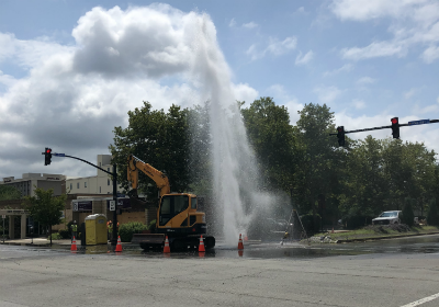 Broken water main provides downtown lunchtime distraction