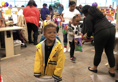 Parade of trick-or-treaters stop by for Halloween fun